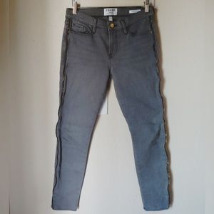 Gray Frame Jeans with zippers skinny Jeans